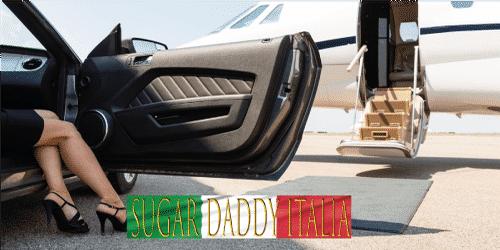 Sugar daddy viaggio donna con aereo e auto di lusso