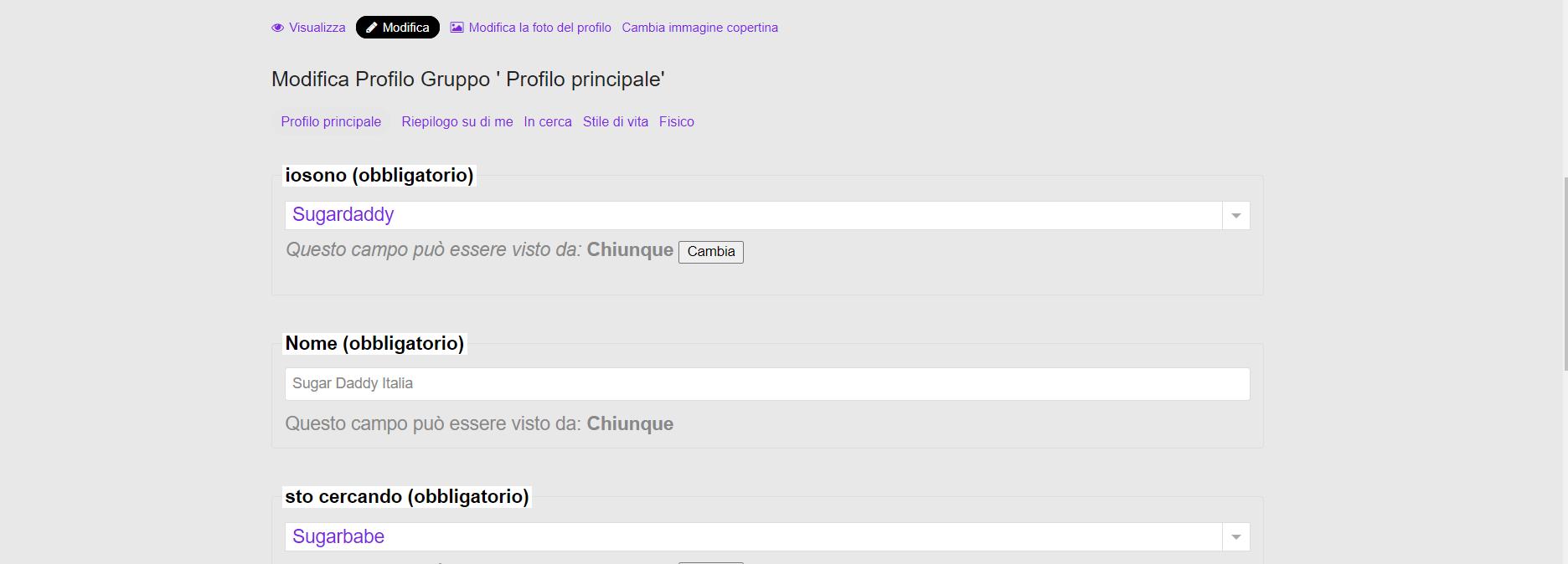 Screenshot della pagina in cui l'utente può modificare e migliorare il proprio profilo con più dati.