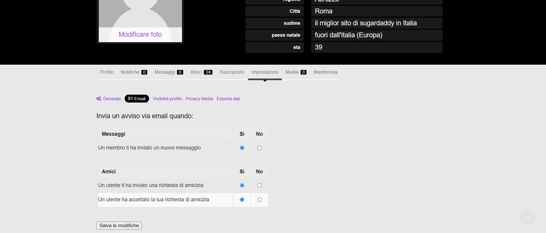Screenshot in cui l'utente può cambiare se desidera ricevere e-mail o meno