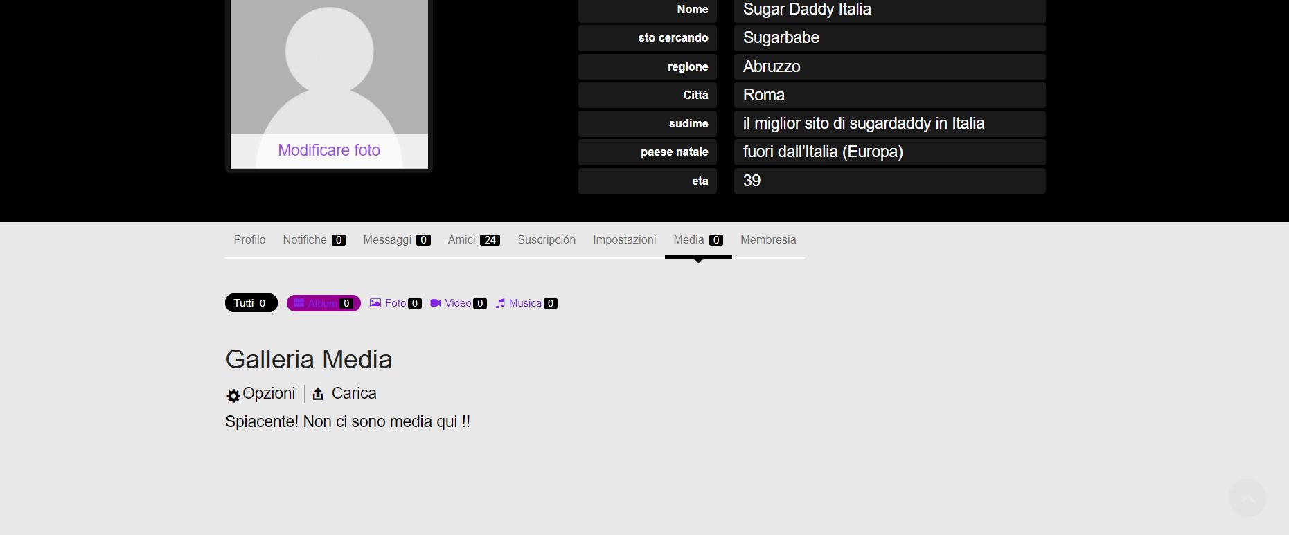 Screenshot in cui l'utente può inserire più foto e video all'interno del social network per il proprio profilo utente.